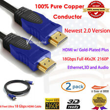 2pcs Premium 6 FT HDMI 2.0 Cable with Ethernet 24K Gold Plated,Full 4kx2k,Newest
