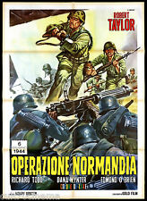 OPERAZIONE NORMANDIA MANIFESTO CINEMA GUERRA 1956 D-DAY 6 JUNE MOVIE POSTER 2F