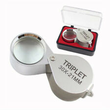 New Silver 30X21mm Jewelers Eye Loupe Magnifier Magnifying glass Lens With Case