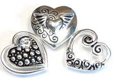 3 - 2 HOLE SLIDER BEAD MULTI DESIGN HEARTS ANGEL WINGS CLEAR CRYSTAL SWIRLS DOTS
