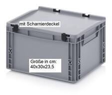 Kunststoff Behälter mit Scharnier-Deckel 40x30x23,5 Regalbox Aufbewahrungskisten