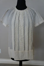 NEW Anthropologie Day Birger Mikkelsen Cotton Silk Crochet Blouse Top S SRP $219