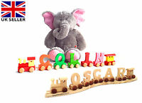 WOODEN PERSONALISED NAME COLOUR TRAIN ALPHABET LETTERS CHRISTMAS GIFT BOY GIRL