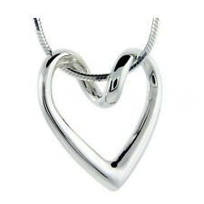 *UK* SILVER HOLLOW ABSTRACT LOVE HEART PENDANT NECKLACE WITH 18'' SNAKE CHAIN