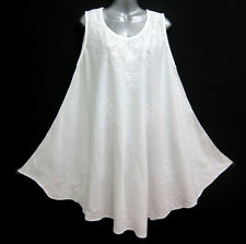 New Sun Summer Cotton White Dress Sleeveless Embroidered One Size M L XL