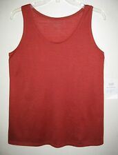 NWT Eileen Fisher Tank top S Silk Cotton Orange Scoop Long Rust Shirt M Saffron