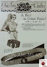 Vintage 1933 Craft Pattern to Make a Crepe Paper or Raffia Belt & Bracelet - PDF