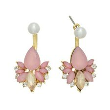 "1"" Pink Gold Rhinestone Ear Jacket White Faux Pearl Dangle Stud Post Earrings"