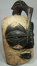 Wood Carved African Mask Ghana Tribal Wall Hanging Decor  Bird Animal Punu Gabon