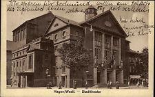 Hagen in Westfalen s/w AK 1927 gelaufen Straßenpartie am Stadttheater Theater