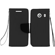 Straight Talk Samsung Galaxy ACE Leather 2 Tone Wallet Flip Cover +Screen Guard