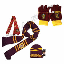4pcs Harry Potter Gryffindor House Scarf + Hat + Necktie + Gloves Warm Costume