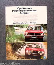 [GCG]  N869 - Advertising Pubblicità - 1975 - OPEL ASCONA , CAMPIONE D'EUROPA