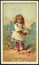 PRETTY VICTORIAN GIRL - Greeting Clothing Trade Card 1880's New York W 23rd