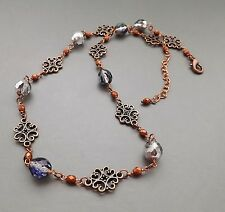 Purple glass crystal copper necklace .. elegant glam Czech bead filigree jewelry