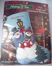 BUCILLA Felt Applique Christmas Stocking Kit SNOW FAMILY 84524 snowman HOLIDAY