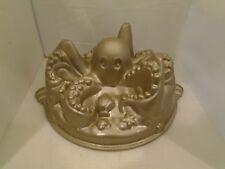 Nordicware Octopus Bundt Cake Pan 10 Cup Gold 3D Aquatic Deep Sea Cephalopod
