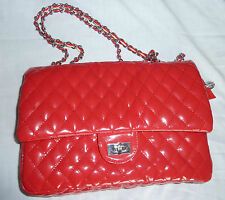"""O"" monogram red patent leather quilt pattern with chain purse hand bag"