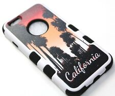 """for iPhone 6 6s (4.7"""") Hard & Soft Rubber CALIFORNIA PALM TREE SUNSET Skin Case"""