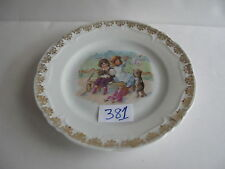 """Child's 6 1/4"""" Dish. children on a bench blowing bubbles, cats and dog"""