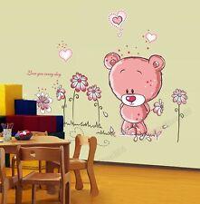 ROSA ORSETTO Fiori Adesivi Murali Arte Carta Bambino Girl