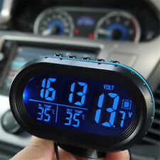 Black Auto Digital Car Clock Date Indoor Outdoor Thermometer Voltage LCD Monitor