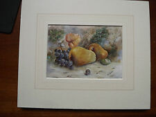 Original signed watercolour by Irish Artist M E Morris Still Life Pears & Grapes