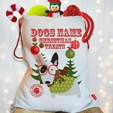 Personnalisée english bull dog puppy noël traiter santa de noël sac pet stocking