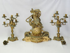 MAGNIFICENT MASSIVE 19C FRENCH EMPIRE DORE BRONZE CLOCK  & PAIR CANDELABRAS