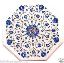 Size 1'x1' Marble Corner Coffee Table Top Lapis Marquetry Mosaic Home Decor
