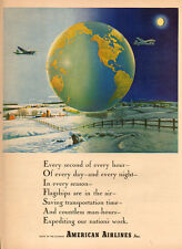 1941 vintage AD AMERICAN AIRLINES Christmas snow Lovely Ad Globe of Earth 020416
