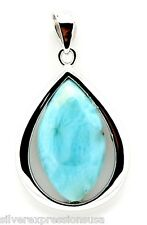 Genuine Natural AAA Dominican Larimar 925 Sterling Silver Pendant For Necklace