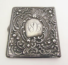 Antique 1895 Sterling Silver STAMP BOX CASE Victorian Repousse Vesta Safe Holder