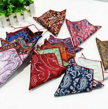 "Lot 10 Piece Men 10"" Paisley handkerchief pocket square silk Western rolle Trim"