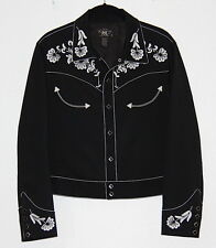 Women's Ralph Lauren RRL Embroidered Western Wool Jacket Black Size 4