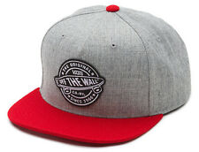 Vans Off The Wall Men's Badge Snapback Hat Cap - Heather Grey/Chili Pepper