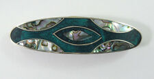 """Alpaca hair clip / Barette with abalone shell inlay green color  3"""" long"""