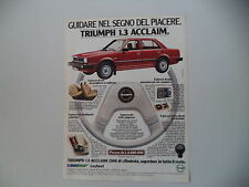advertising Pubblicità 1982 TRIUMPH ACCLAIM 1.3
