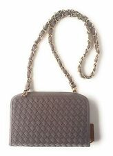 Ladies Woven Messenger Cross Body Wallet On Chain Designer Style Handbag, Grey