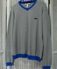 ADIDAS Neo Label Sweatshirt Grey Pullover with Blue Accents, Elbow Patches M