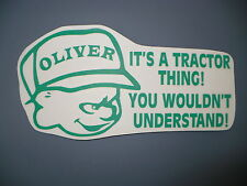 OLIVER THING decal TRACTOR PULL pulling trailer plow MOWER parts sticker COLORS!