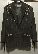 Scully Western Fringed Beaded Leather Jacket Brown Size 38 Indian Native Rodeo