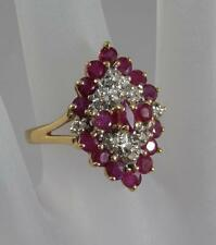 Estate 14 Karat Yellow Gold Ruby & Diamond Cocktail Ring Size 7 14K J0085