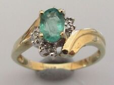 Secondhand 9ct yellow gold oval emerald diamond cluster ring size K