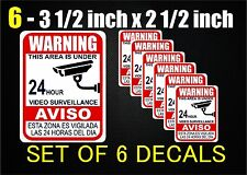 Video-Surveillance- 6 Security Stickers/Decal - FAST SHIPPING