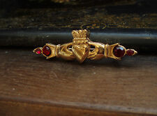 Vintage Gold Heart & Hands Claddagh Brooch Ruby Red Crystals 22ct Gold Plated