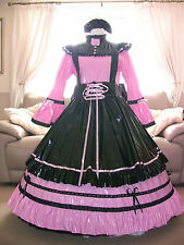 Amazing Long Pink PVC Adult Sissy Maids Dress With Black Apron size xxl