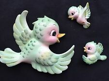 Vintage Lefton Collectible, Sweet Momma Bluebird and 2 Babies Wall Plaques, RARE