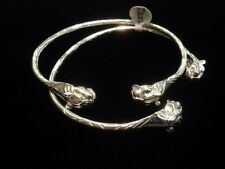Pair Of Tiger Head Handmade West Indian Sterling Silver Bangles