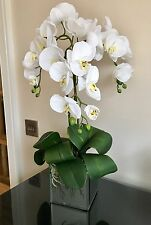 REALISTIC ARTIFICIAL WHITE ORCHID PLANT WITH LEAVES IN TRENDY LARGE MIRROR CUBE